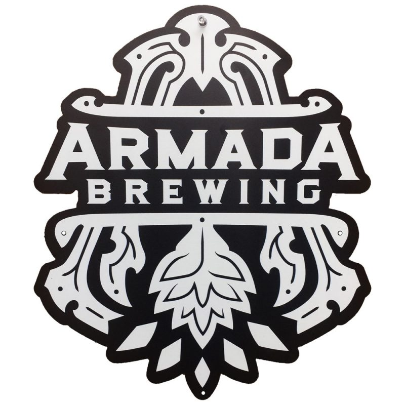 Armada Brewing - custom shape tacker sign