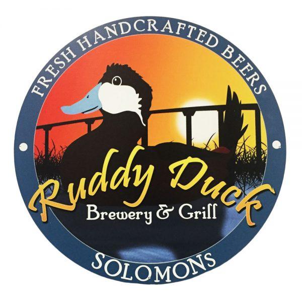 """Ruddy Duck 16"""" Round Tacker Sign"""